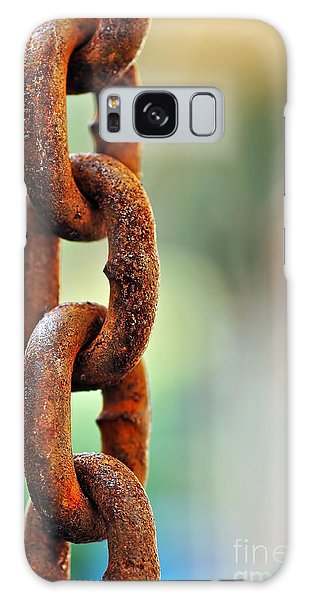Rusty Chain Galaxy Case - Hanging Chain Before Pastel Bokeh by Kaye Menner