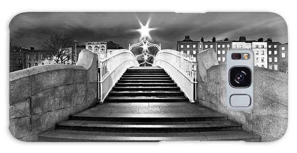 Galaxy Case featuring the photograph Ha'penny Bridge Steps At Night - Dublin - Black And White by Barry O Carroll