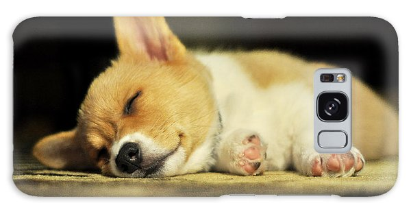 Happiness Is A Warm Corgi Puppy Galaxy Case