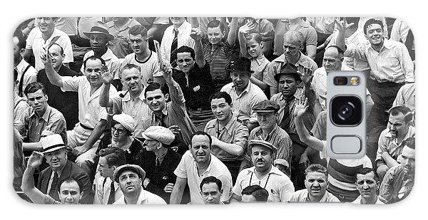 Happy Baseball Fans In The Bleachers At Yankee Stadium. Galaxy Case