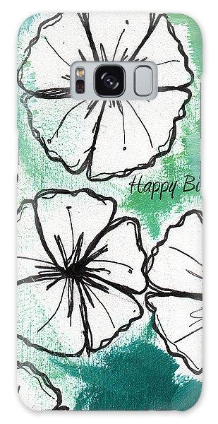 Cart Galaxy Case - Happy Birthday- Floral Birthday Card by Linda Woods