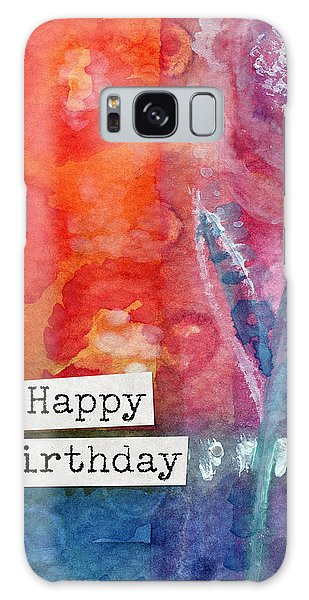 Card Galaxy S8 Case - Happy Birthday- Watercolor Floral Card by Linda Woods