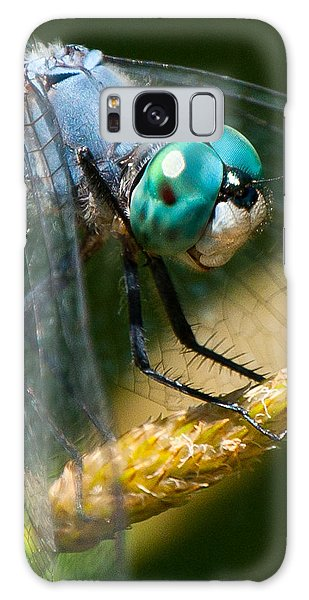 Happy Blue Dragonfly Galaxy Case by Janis Knight