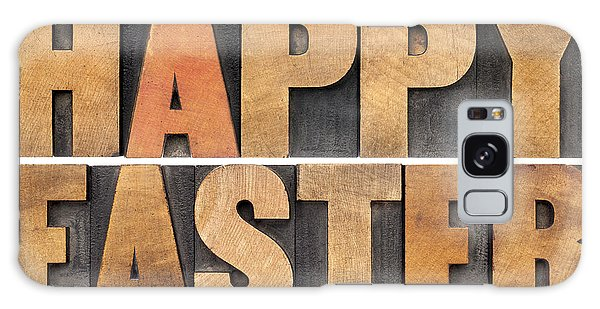 Happy Easter In Wood Type Galaxy Case