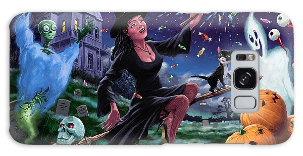 Happy Halloween Witch With Graveyard Friends Galaxy Case by Martin Davey