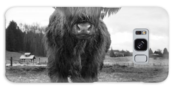 Happy Highland Cow Galaxy Case by Sonya Lang