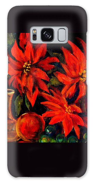 New Orleans Red Poinsettia Oil Painting Galaxy Case