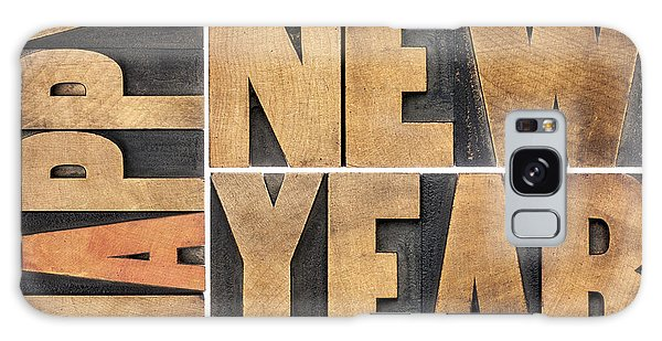 Happy New Year In Wood Type Galaxy Case