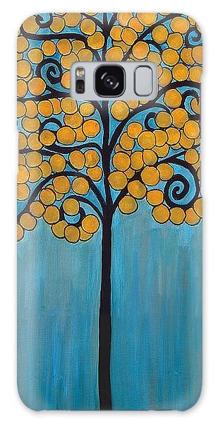 Happy Tree In Blue And Gold Galaxy Case