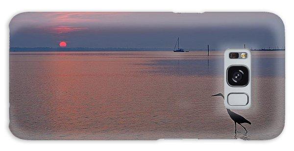 Harry The Heron Fishing On Santa Rosa Sound At Sunrise Galaxy Case by Jeff at JSJ Photography