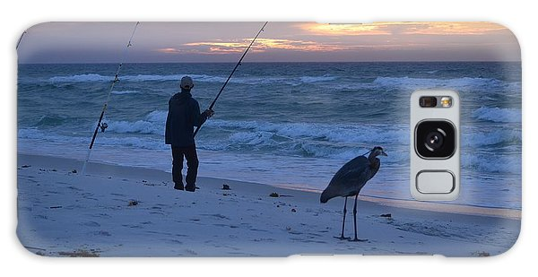 Harry The Heron Fishing With Fisherman On Navarre Beach At Sunrise Galaxy Case by Jeff at JSJ Photography