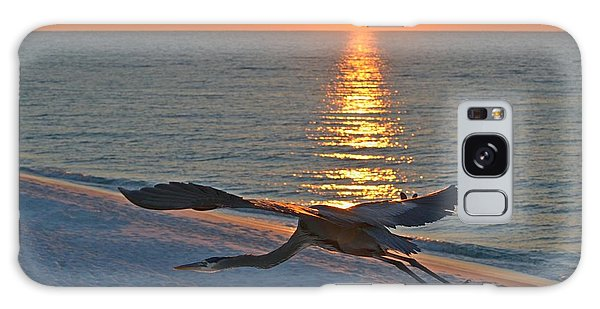 Harry The Heron Takes Flight To Reposition His Guard Over Navarre Beach At Sunrise Galaxy Case by Jeff at JSJ Photography