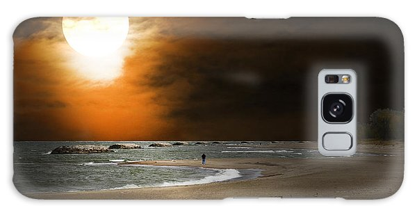 Harvest Moon On The Beach Galaxy Case by Randall Branham