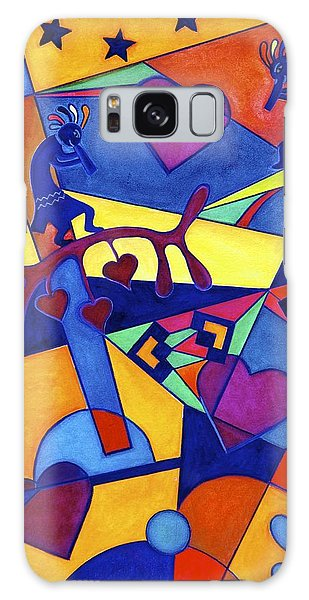 Harvesting The Love Kokopelli Art  Galaxy Case by Lori Miller
