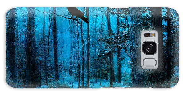 Haunting Dark Blue Surreal Woodlands With Crow  Galaxy Case