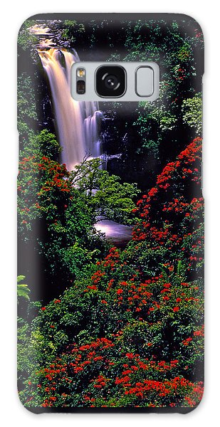 Hawaiian Waterfall With Tulip Trees Galaxy Case by Marie Hicks