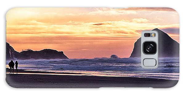 Haystack Rock Beach Walk Sunset Galaxy Case