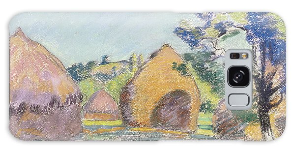 Impressionistic Galaxy Case - Haystacks At Saint Cheron by Jean Baptiste Armand Guillaumin