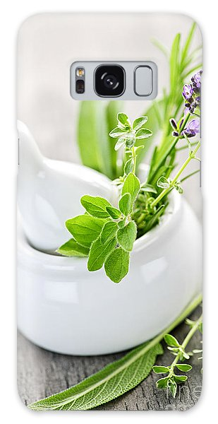 Herbs Galaxy Case - Healing Herbs In Mortar And Pestle by Elena Elisseeva