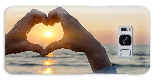 Framing Galaxy Case - Heart Shaped Hands Framing Ocean Sunset by Elena Elisseeva