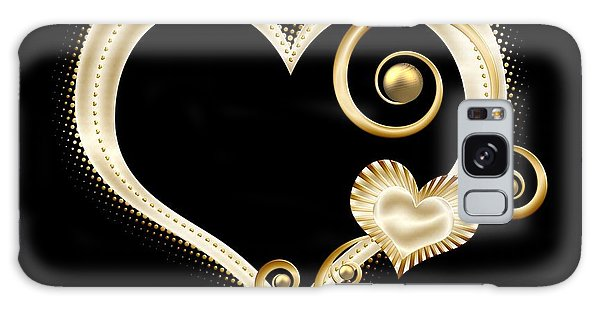 Galaxy Case featuring the digital art Hearts In Gold And Ivory On Black by Rose Santuci-Sofranko