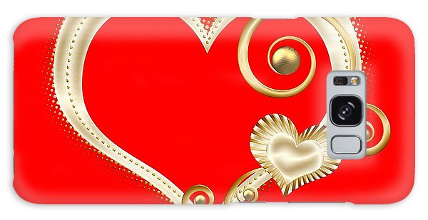 Galaxy Case featuring the digital art Hearts In Gold And Ivory On Red by Rose Santuci-Sofranko