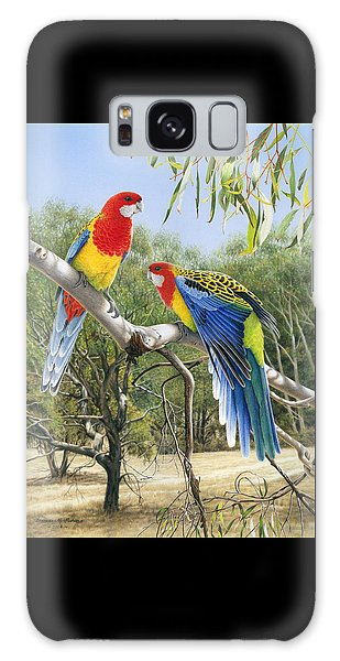 Heatwave - Eastern Rosellas Galaxy Case by Frances McMahon