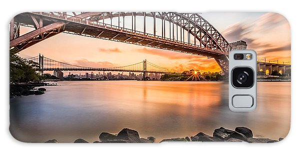 Hell Gate And Triboro Bridge At Sunset Galaxy Case