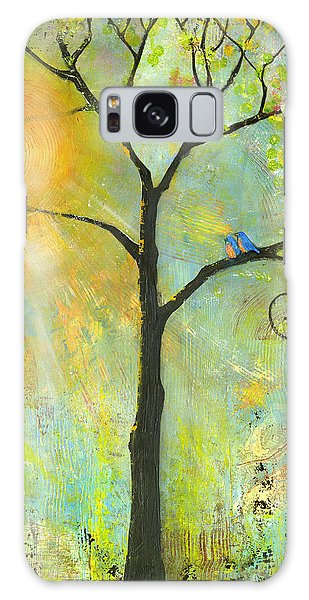 Hello Sunshine Tree Birds Sun Art Print Galaxy Case by Blenda Studio