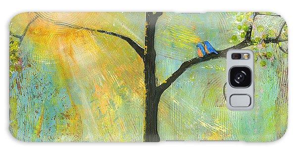 Bright Sun Galaxy Case - Hello Sunshine Tree Birds Sun Art Print by Blenda Tyvoll