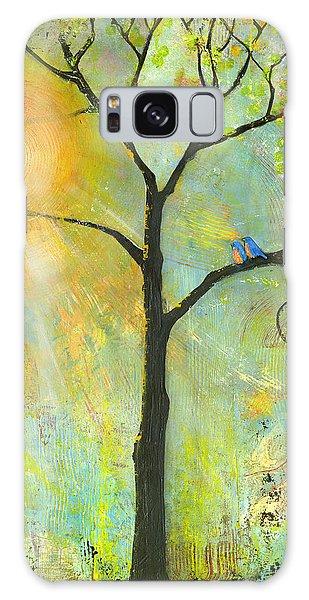 Iphone Case Galaxy Case - Hello Sunshine Tree Birds Sun Art Print by Blenda Tyvoll