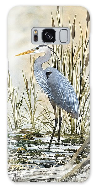 Herons Galaxy Case - Heron And Cattails by James Williamson