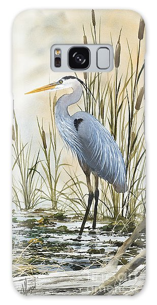Heron And Cattails Galaxy Case