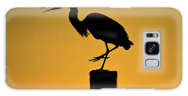 Heron At Sunrise Galaxy Case