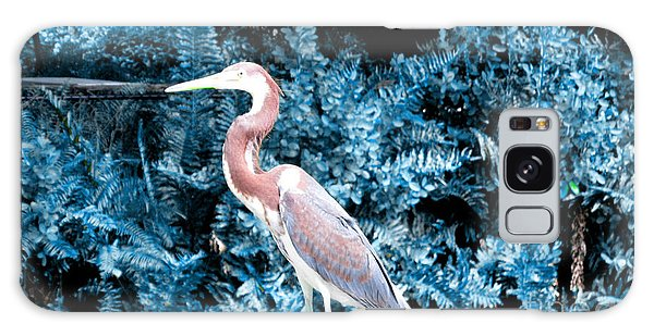 Heron In Blue Galaxy Case