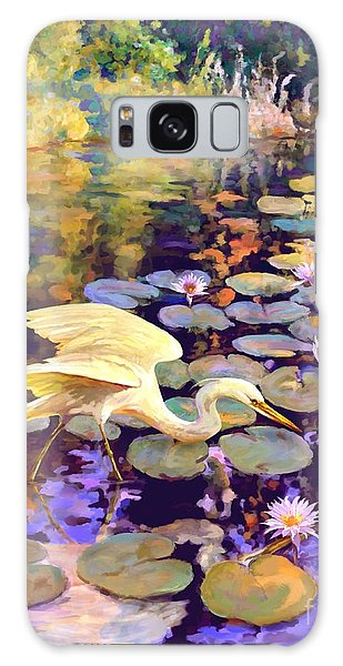 Heron In Lily Pond Galaxy Case