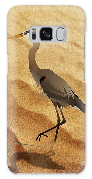 Heron On Golden Sands Galaxy Case