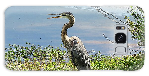 Heron On Lake Galaxy Case