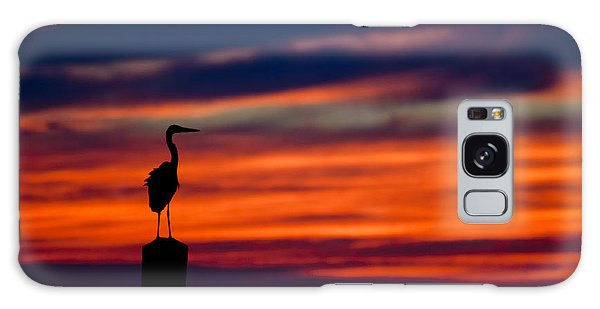 Heron Sunset Silhouette Galaxy Case