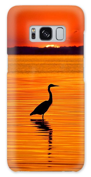 Heron With Burnt Sienna Sunset Galaxy Case by William Bartholomew