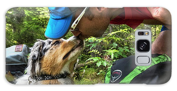White Mountain National Forest Galaxy Case - Hiker Kissing His Dog On The Trail by Joe Klementovich