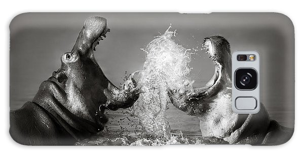 Splash Galaxy Case - Hippo's Fighting by Johan Swanepoel