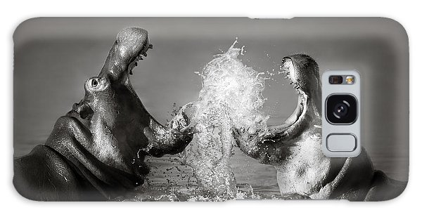 Wildlife Galaxy Case - Hippo's Fighting by Johan Swanepoel
