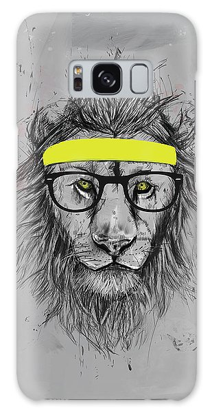 Funny Galaxy Case - Hipster Lion by Balazs Solti