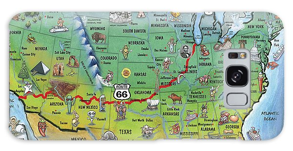 66 Galaxy Case - Historic Route 66 Cartoon Map by Kevin Middleton