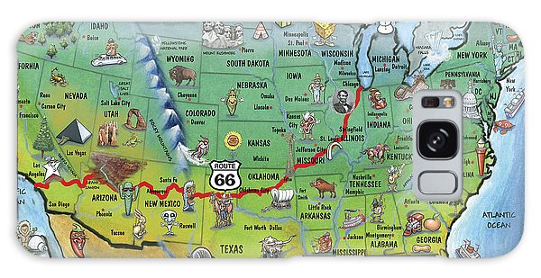 Historic Route 66 Cartoon Map Galaxy Case