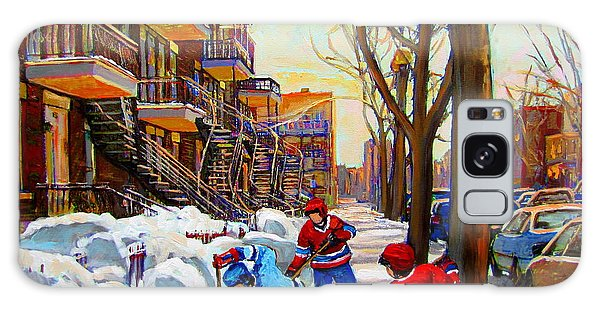 Hockey Art - Paintings Of Verdun- Montreal Street Scenes In Winter Galaxy Case by Carole Spandau