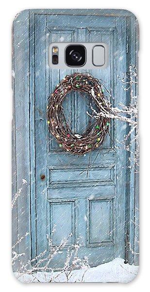 Barn Door And Holiday Wreath/digital Painting Galaxy Case
