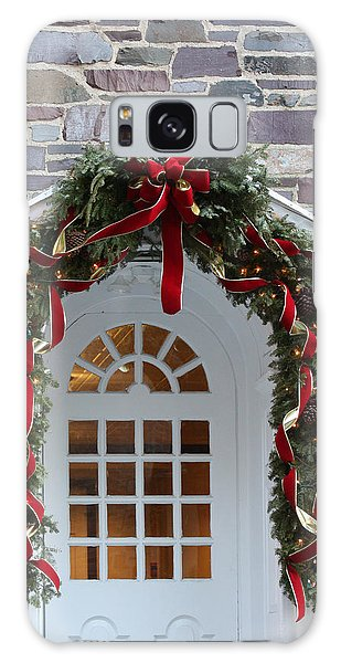 Galaxy Case featuring the photograph Holiday Door Wreath by Ann Murphy