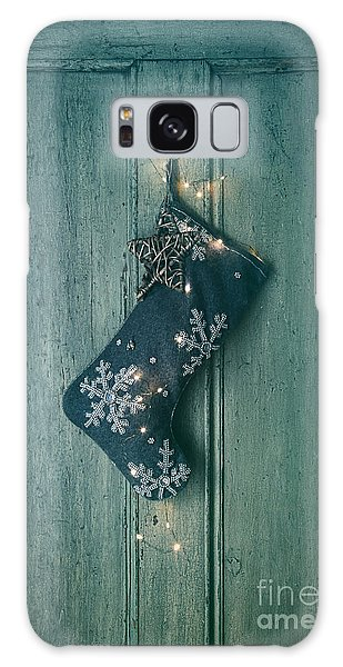 Holiday Stocking With Lights Hanging On Old Door Galaxy Case